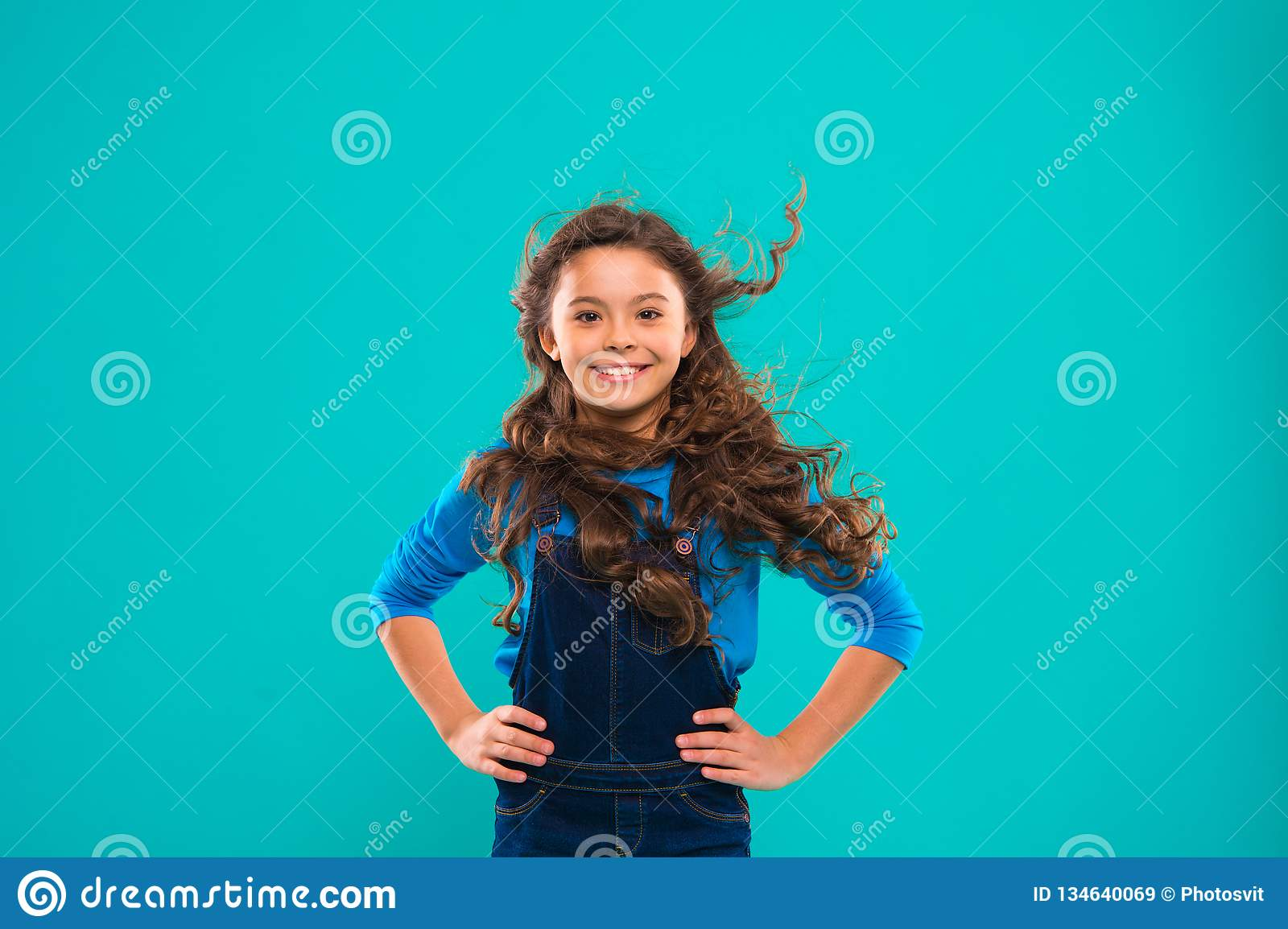 Little Girl With Long Hair Kid Happy Cute Face With