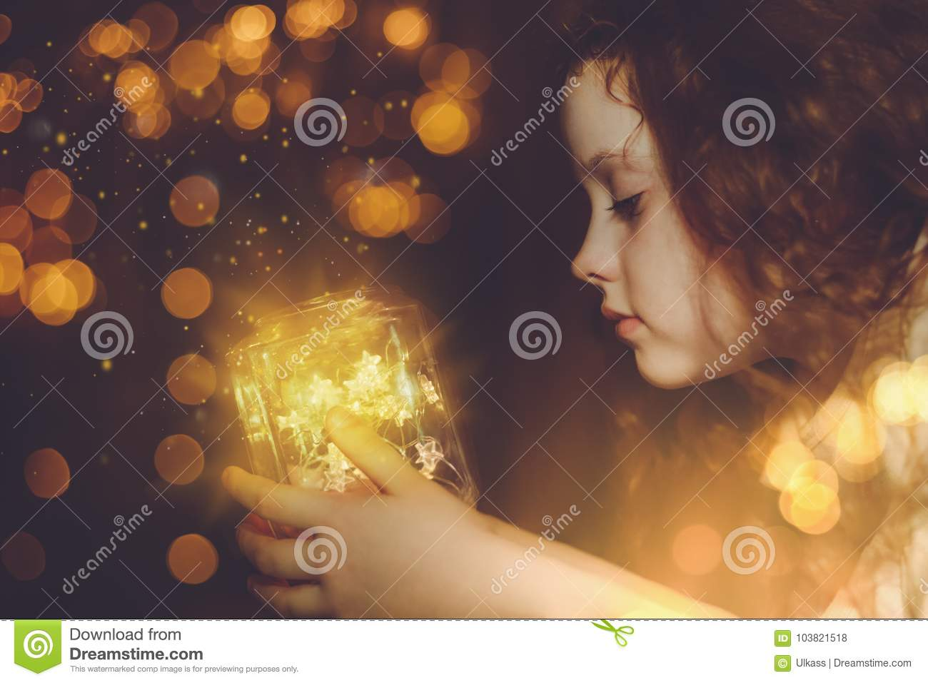 Download Little Girl Looking On The Magic Christmas Lamp. Stock Photo - Image of gift, merry: 103821518
