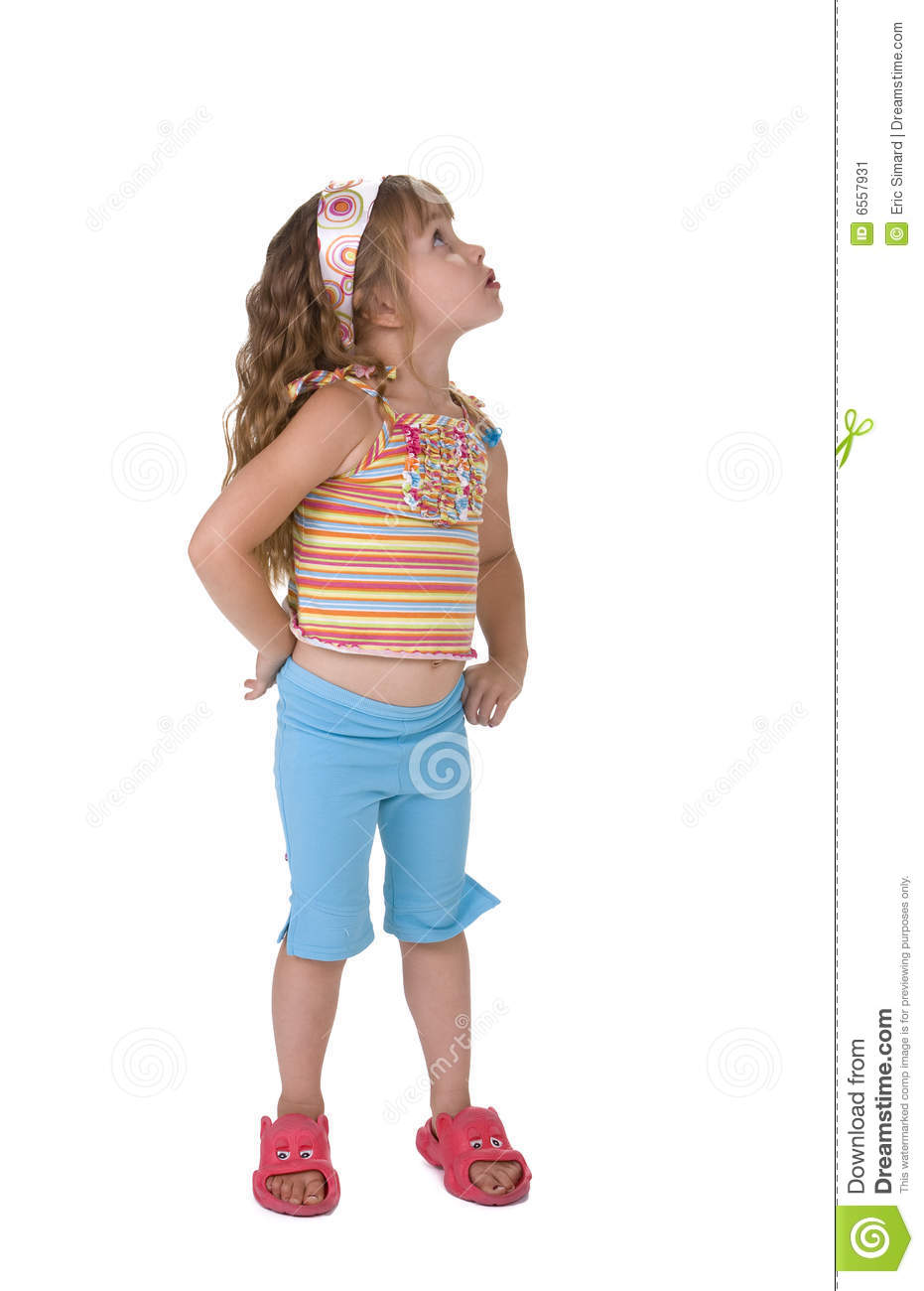 Little Girl Looking Up stock image. Image of sideways ...