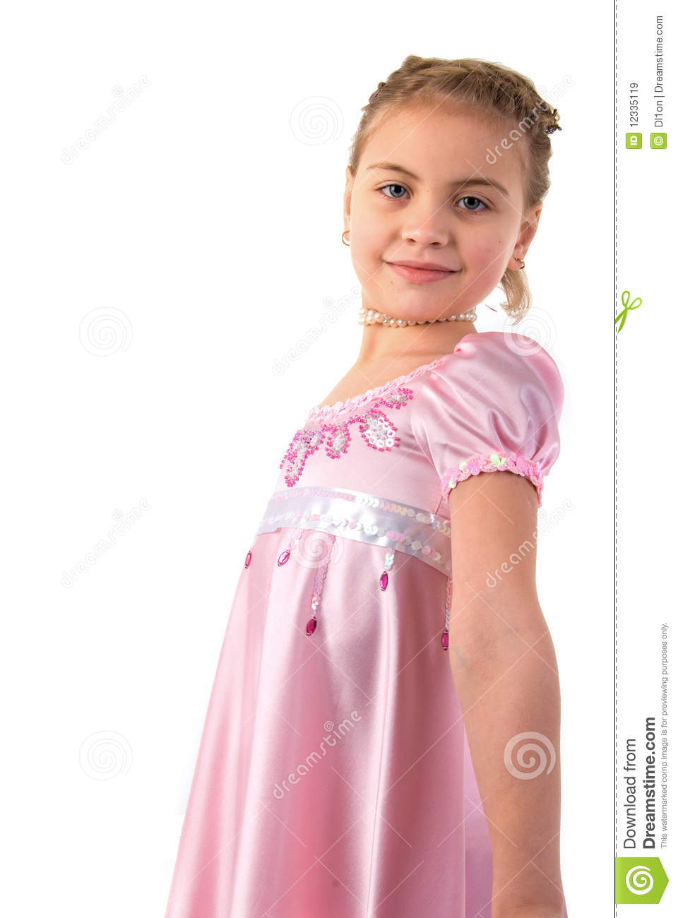 Little girl looks princess in beautiful dress stock image for Small princess