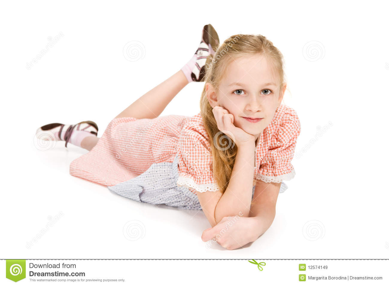 Bath Shower Seats Little Girl Lying On The Floor Stock Image Image 12574149