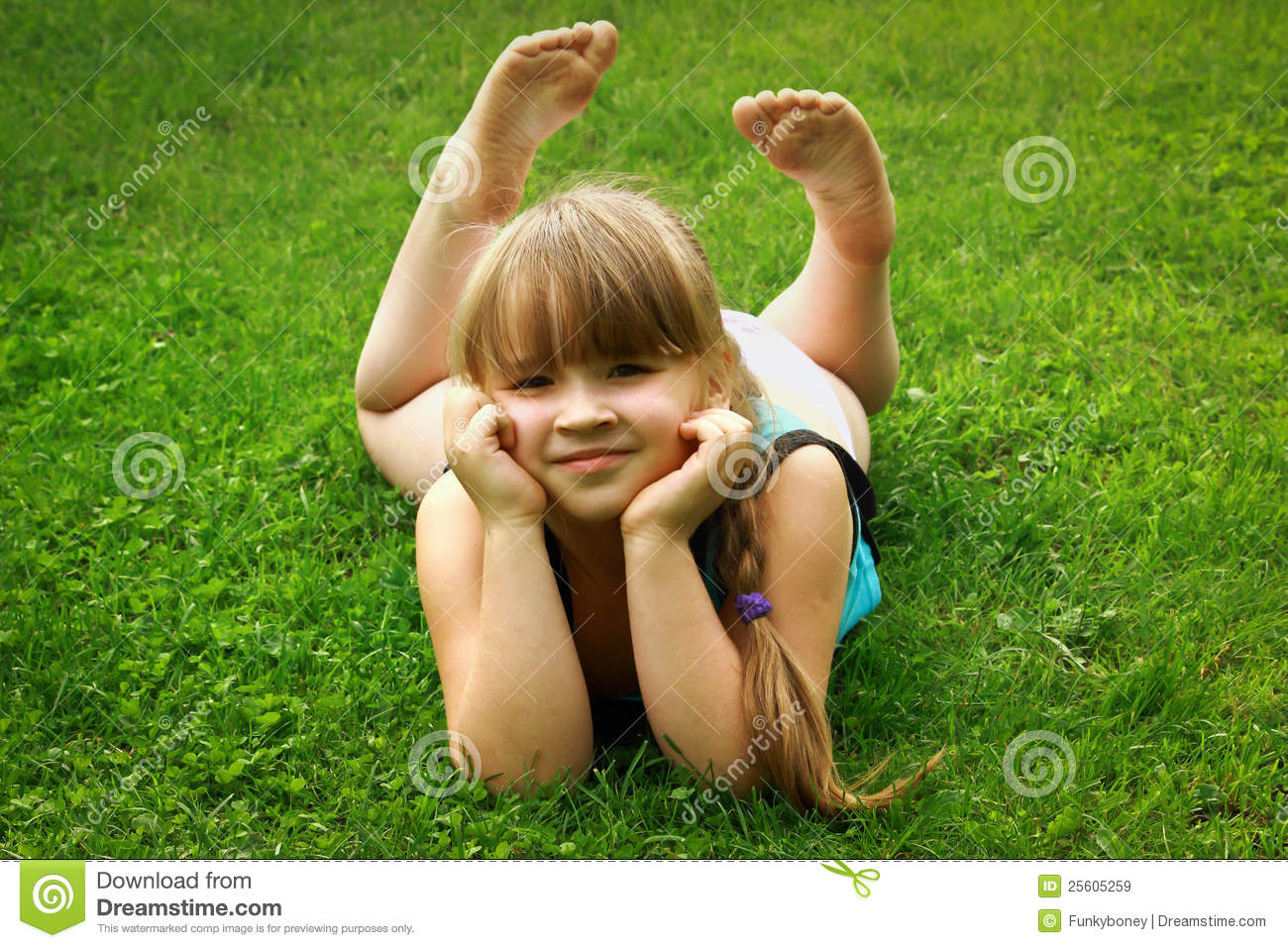 Little Girl Lying On Grass Stock Image Image Of Portrait