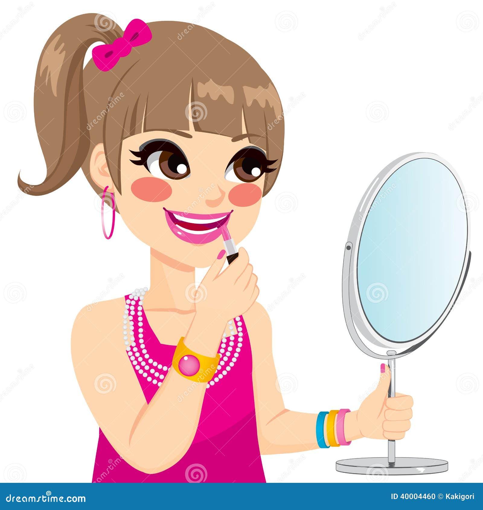 Girl Putting On Makeup Clipart Little Girl Makeup Stock