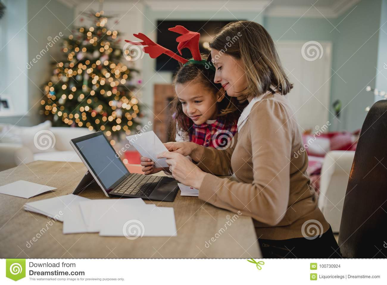 Writing Christmas Cards With Mum Stock Photo - Image of leisure ...