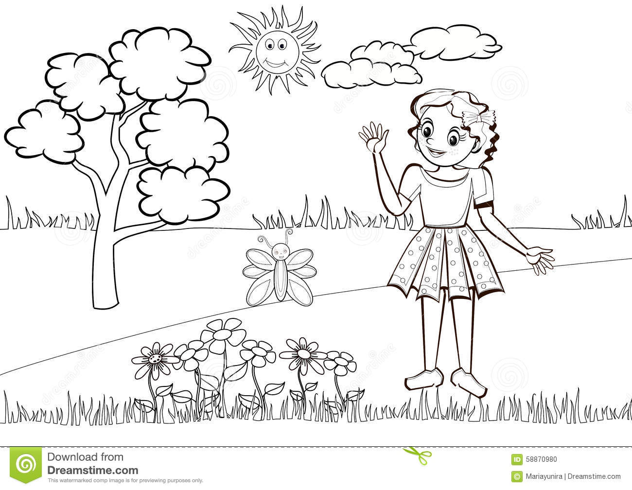 Little Girl In The Meadow Colouring Book Stock
