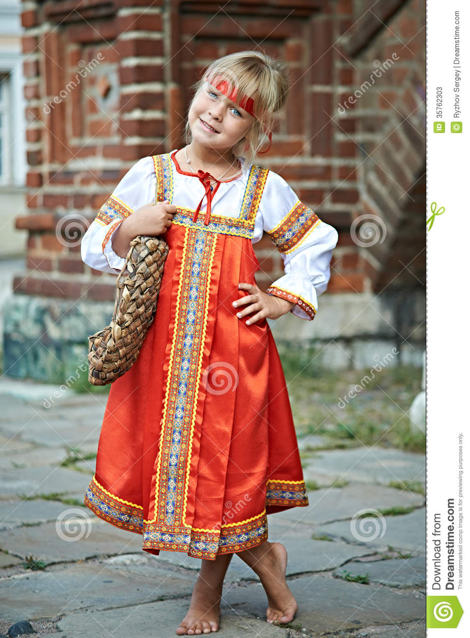 Little Girl In National Costumes In Russian Village Stock Photos ...