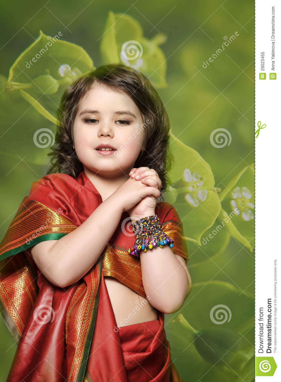 a little girl is in the national indian dress stock image - image of