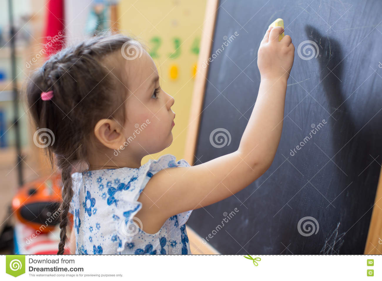 kindergarten girl side Royalty-Free Stock Photo
