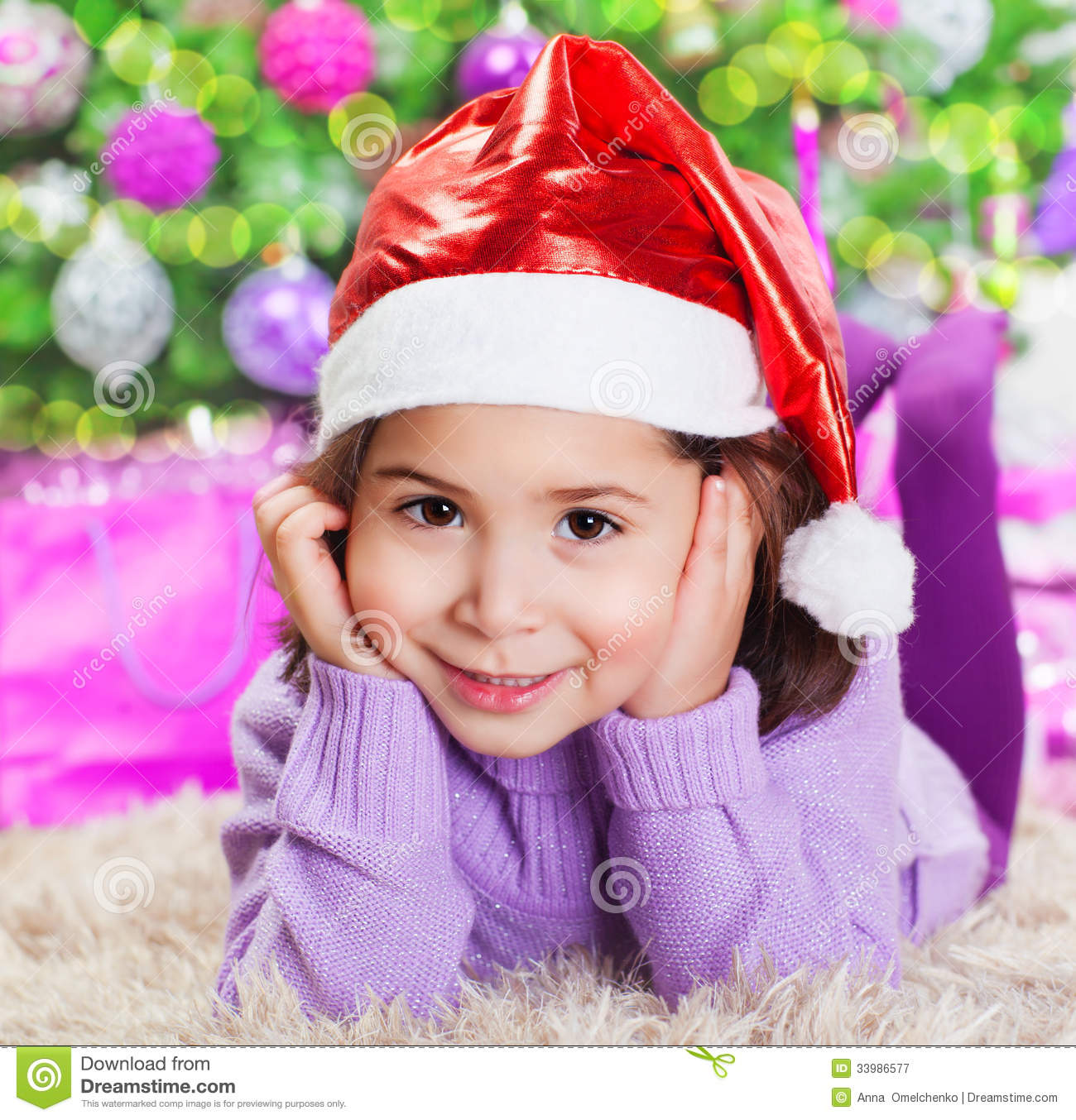 Little Girl Christmas Tree: Little Girl Near Christmas Tree Stock Image
