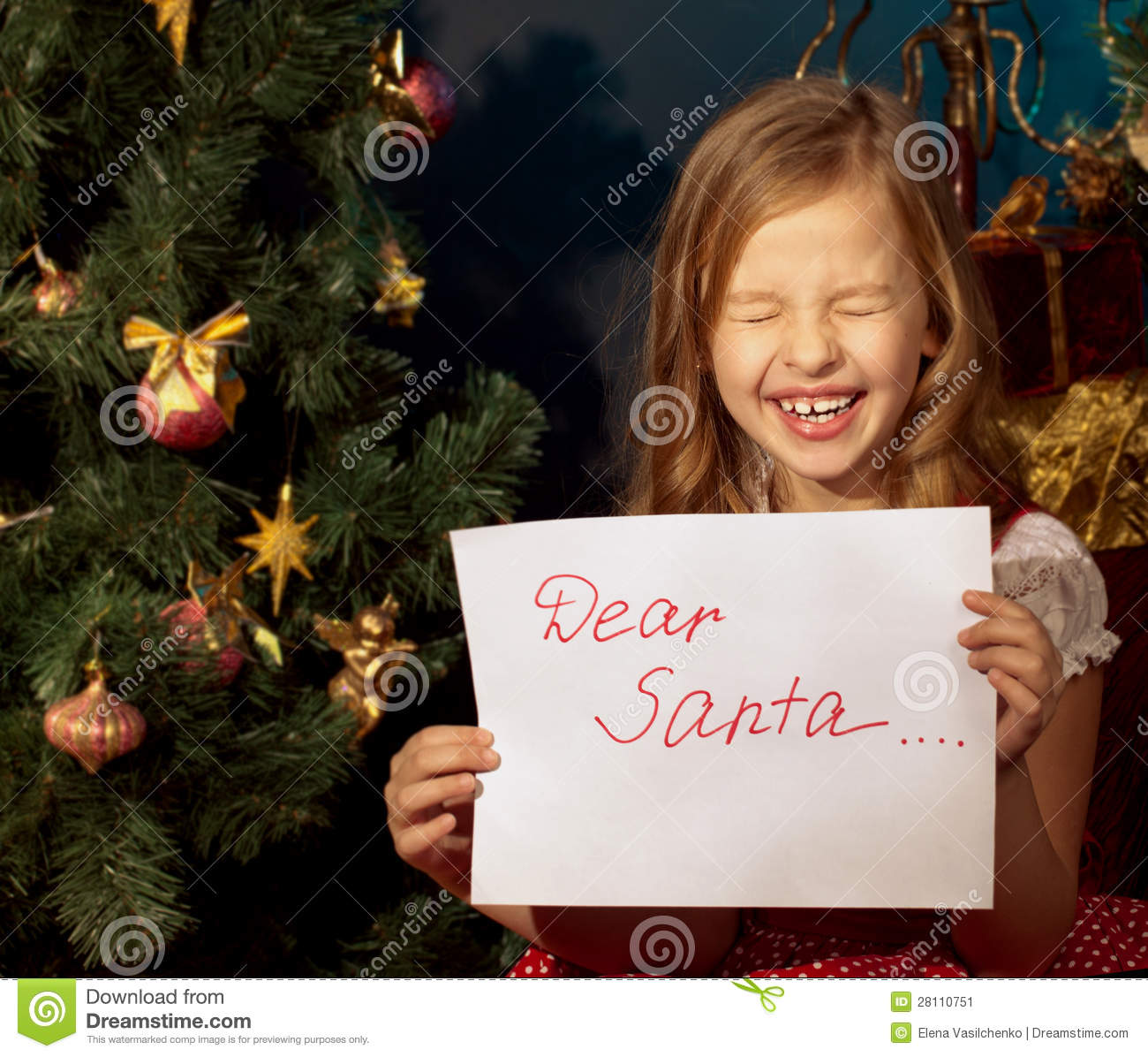 Little Girl Christmas Tree: Little Girl Near Christmas Tree Writing Letter For Santa
