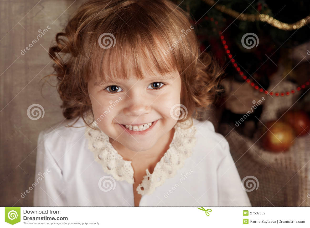 Little Girl In Nightie In The New Year S Eve Stock Photo Image Of