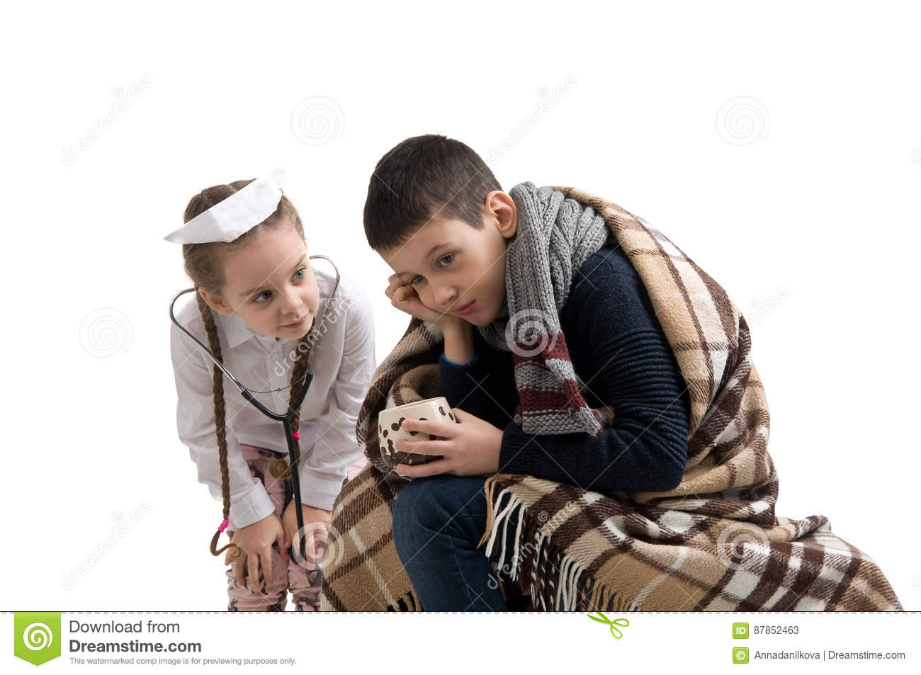 e50efbeb10113 Little Girl In Nurse Costume. Boy Ill Flu. Stock Image - Image of ...