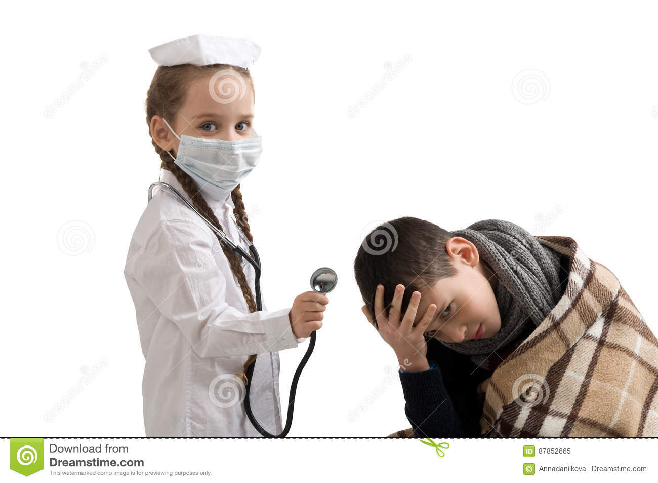 6bfcd81b2d14a Little Girl In Nurse Costume. Seasonal Flu Epidemic Stock Image ...
