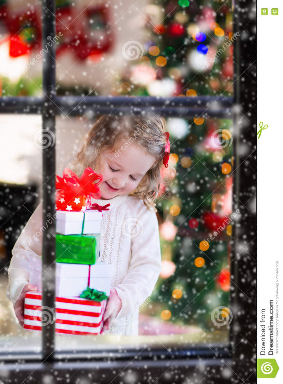 Little Girl Opening Presents On Christmas Morning Stock Image ...