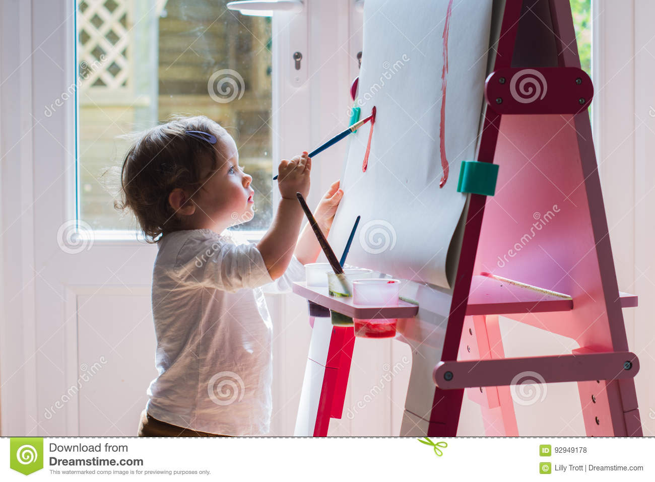 Little Girl Painting On The Easel Stock Photo Image Of Easel