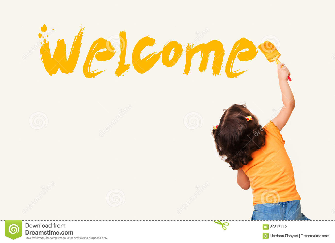 Little Girl Painting Welcome On Wall Background Stock
