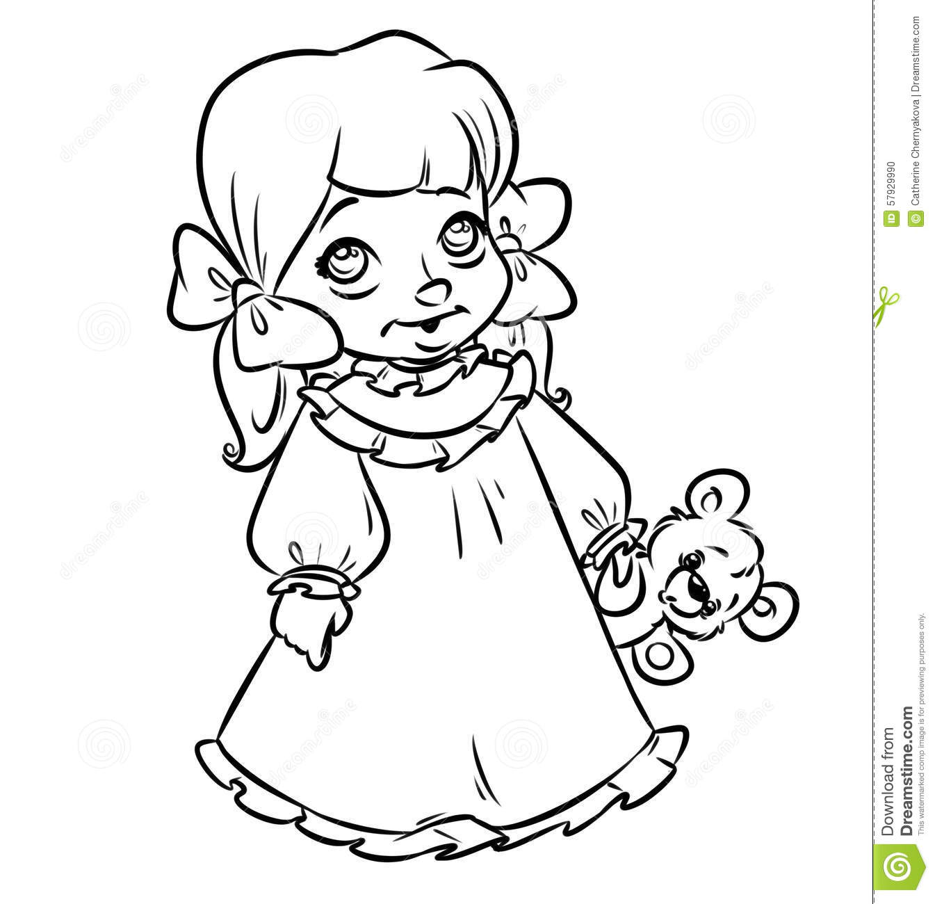 Little girl pajamas coloring pages stock illustration for Little girls coloring pages