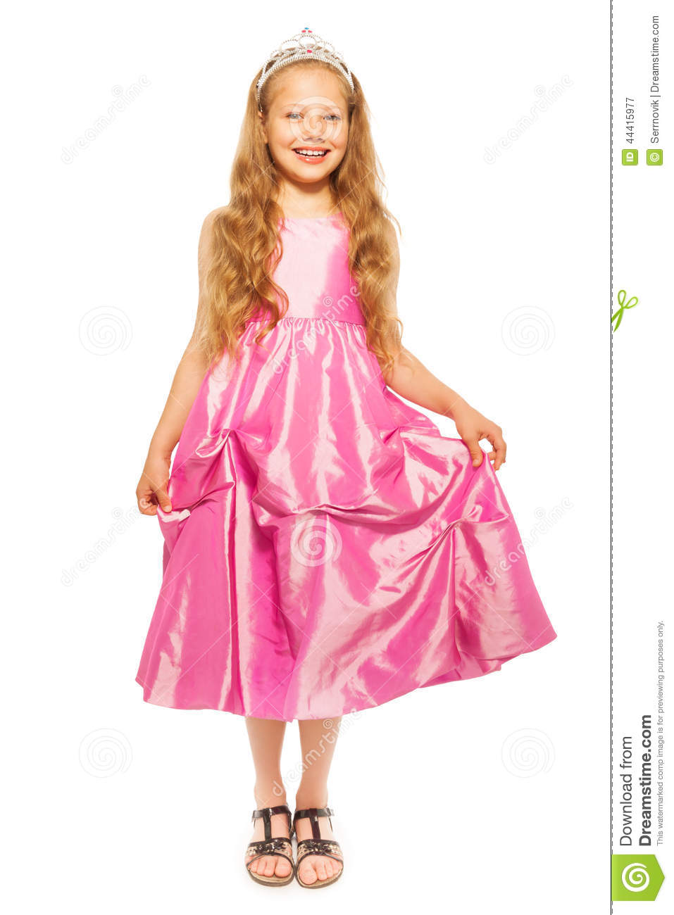Little Girl In Pink Dress With Princess Crown Stock Photo - Image ...