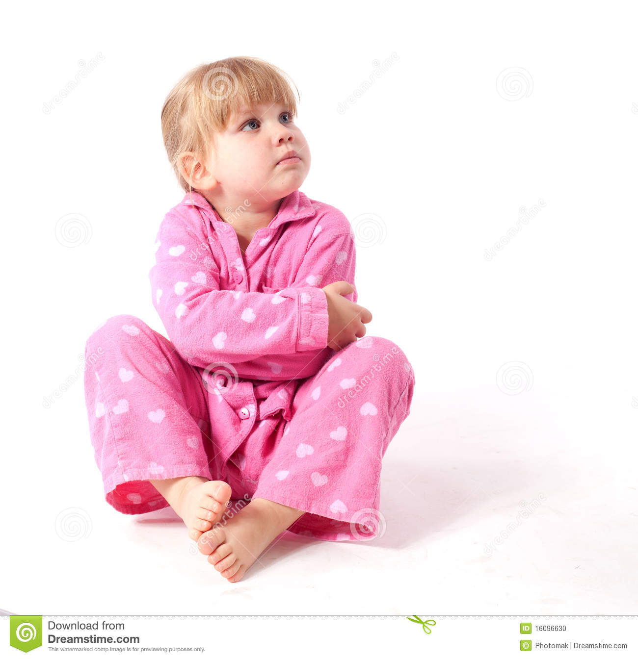 Little Girl In Pink Pyjamas Stock Photo - Image: 16096630