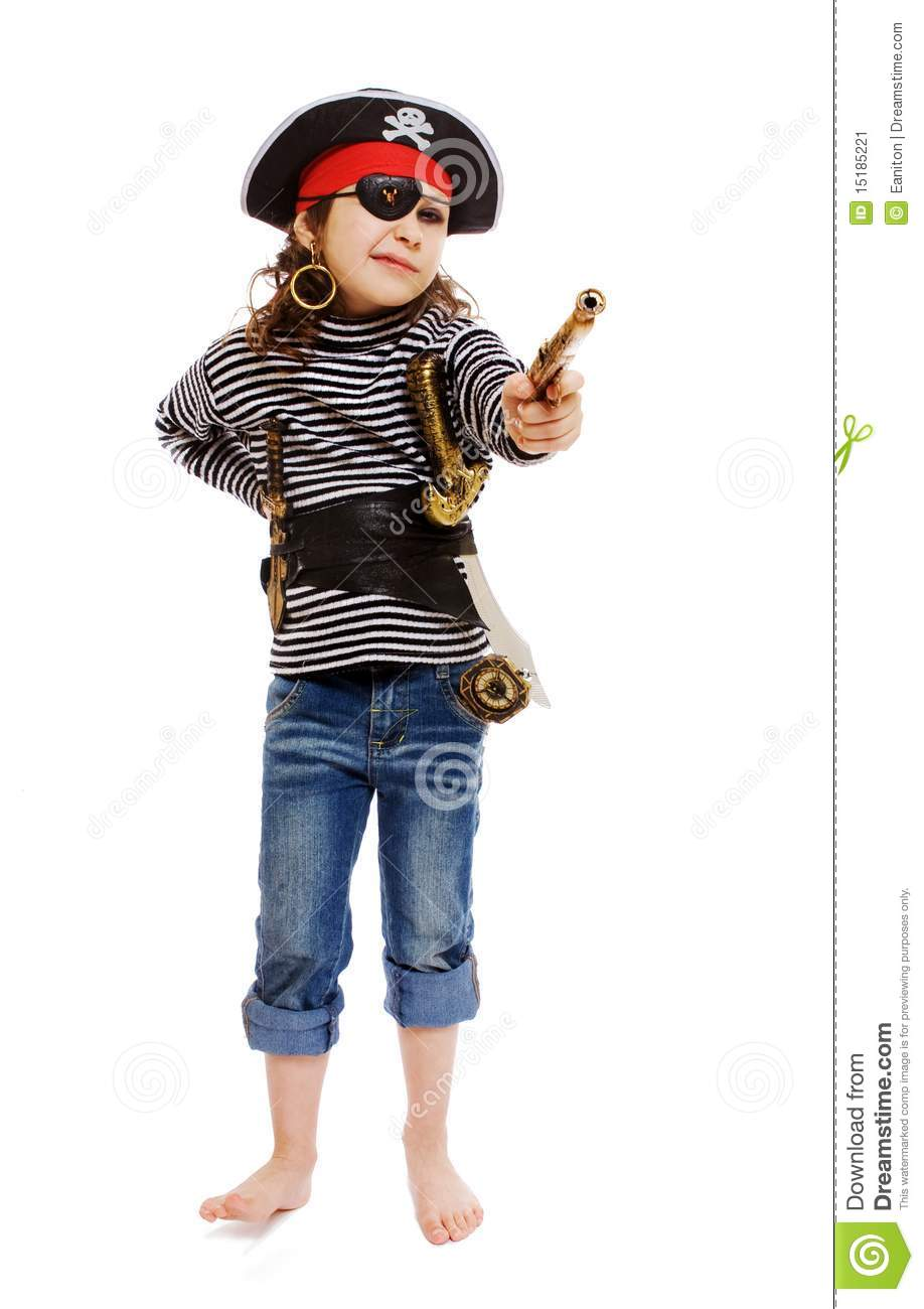Little Girl In Pirate's Costume Stock Image - Image of ...