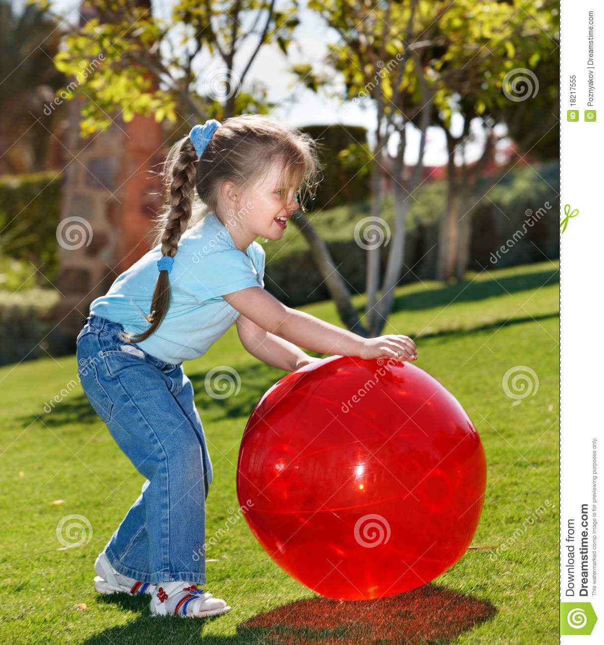 little girl play with ball in the park stock image image 18217555. Black Bedroom Furniture Sets. Home Design Ideas