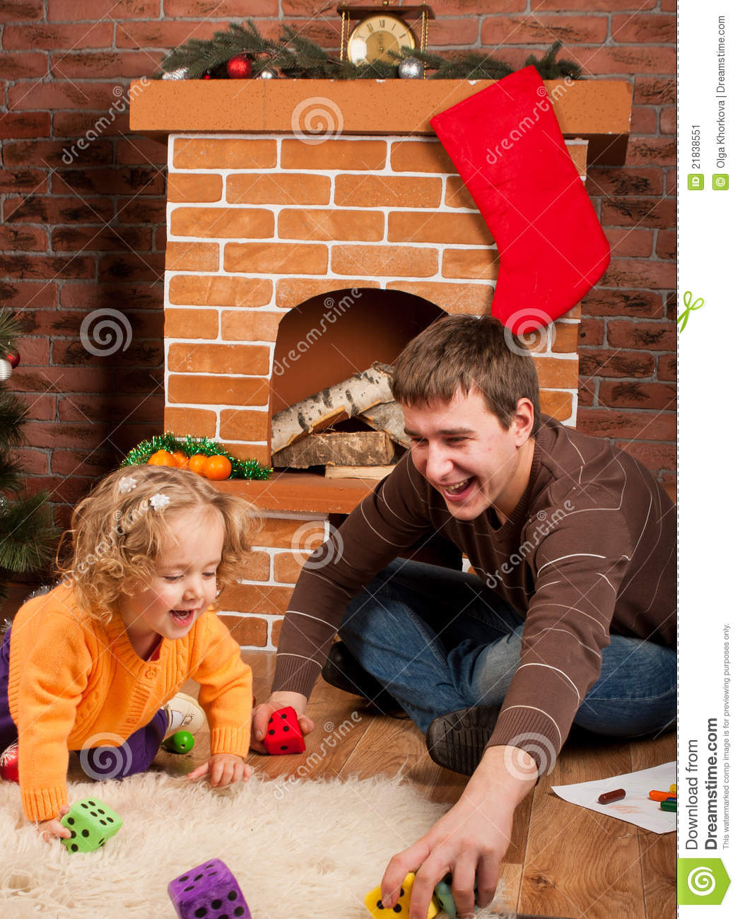 Little Girl Christmas Tree: Little Girl Play With Dad Near Christmas Tree Stock Image