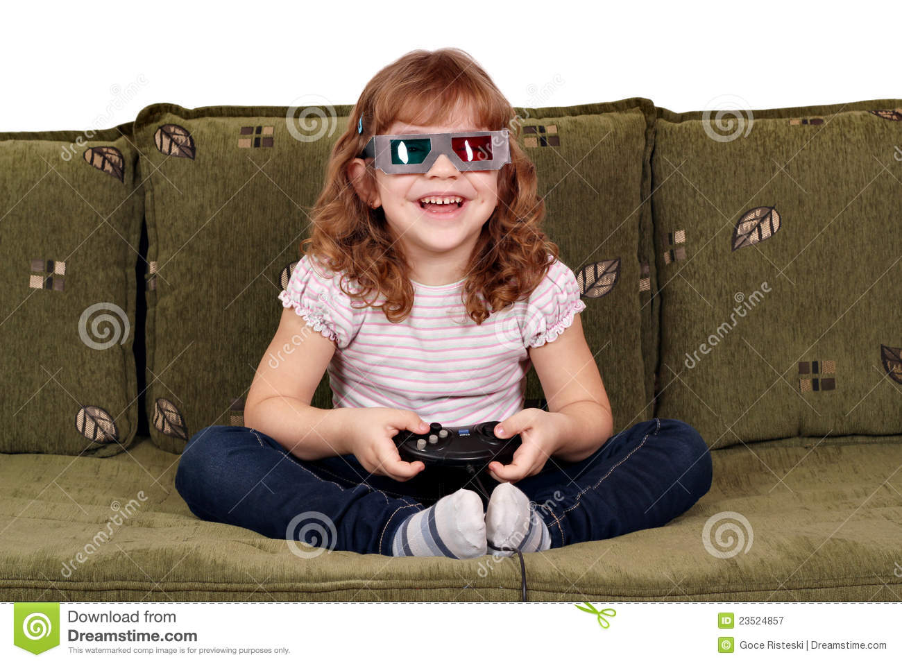 Little Girl Play Video Games Royalty Free Stock ...