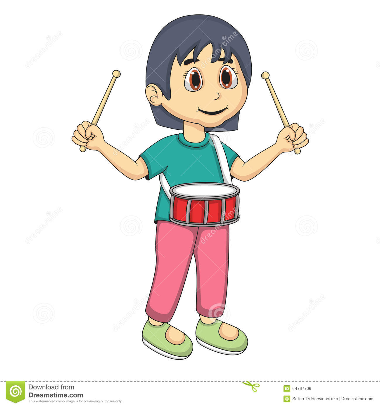 Cute Little Girl Playing Drum Vector Illustration -2190