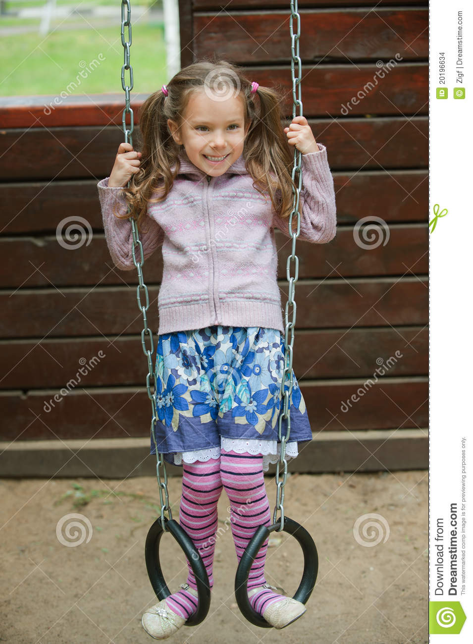 Little Girl Playing On Playground Stock Images Image