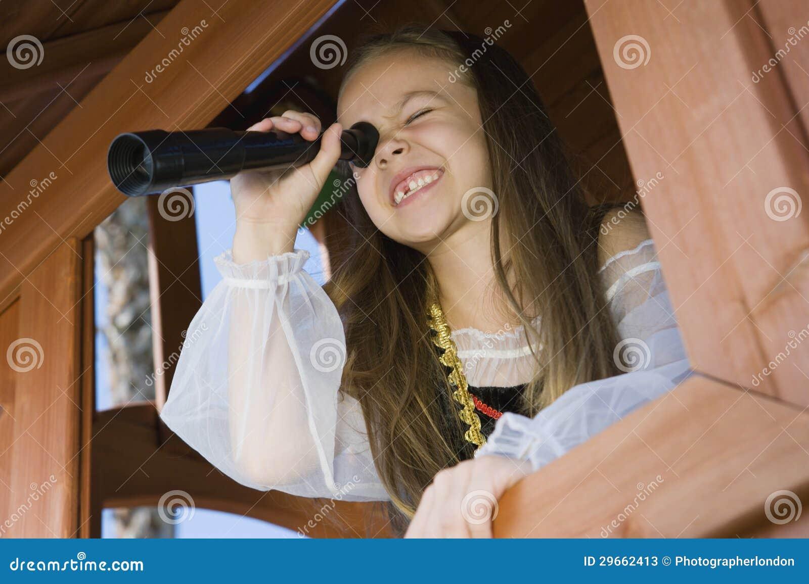pirate girl looking through telescope vector illustration