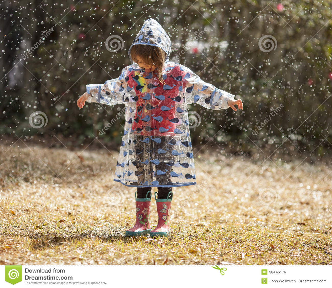 Playing in the rain stock image Image of childhood