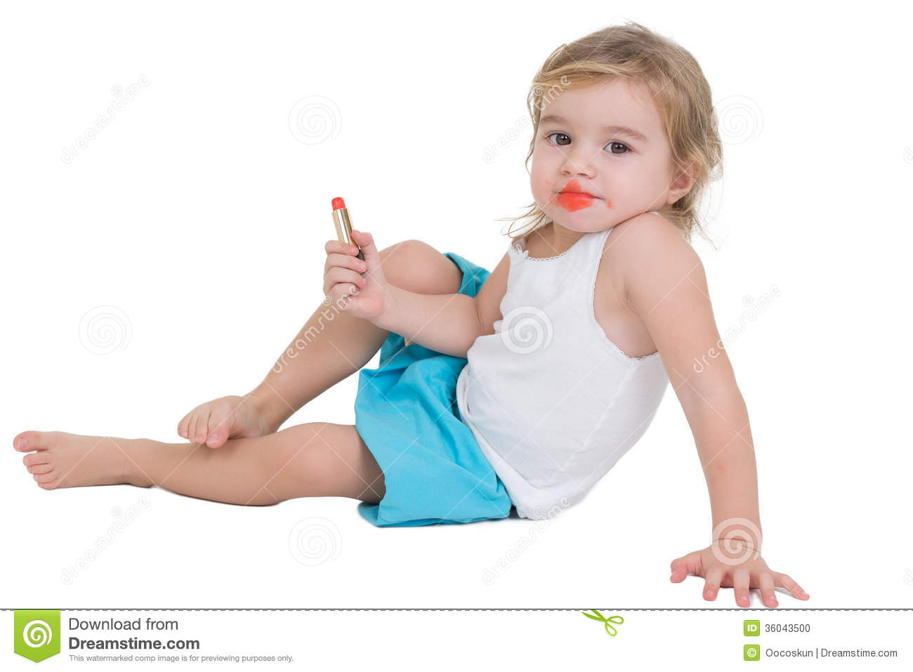 Little Girl Playing With Red Lipstick Stock Photo Image 36043500