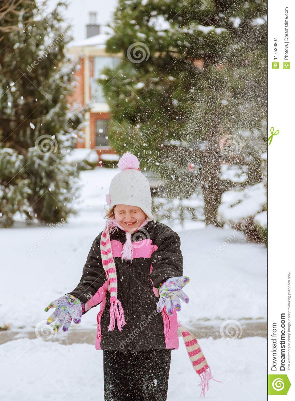 1ff9cdc5d Little Girl Playing With Snow Stock Image - Image of daughter ...