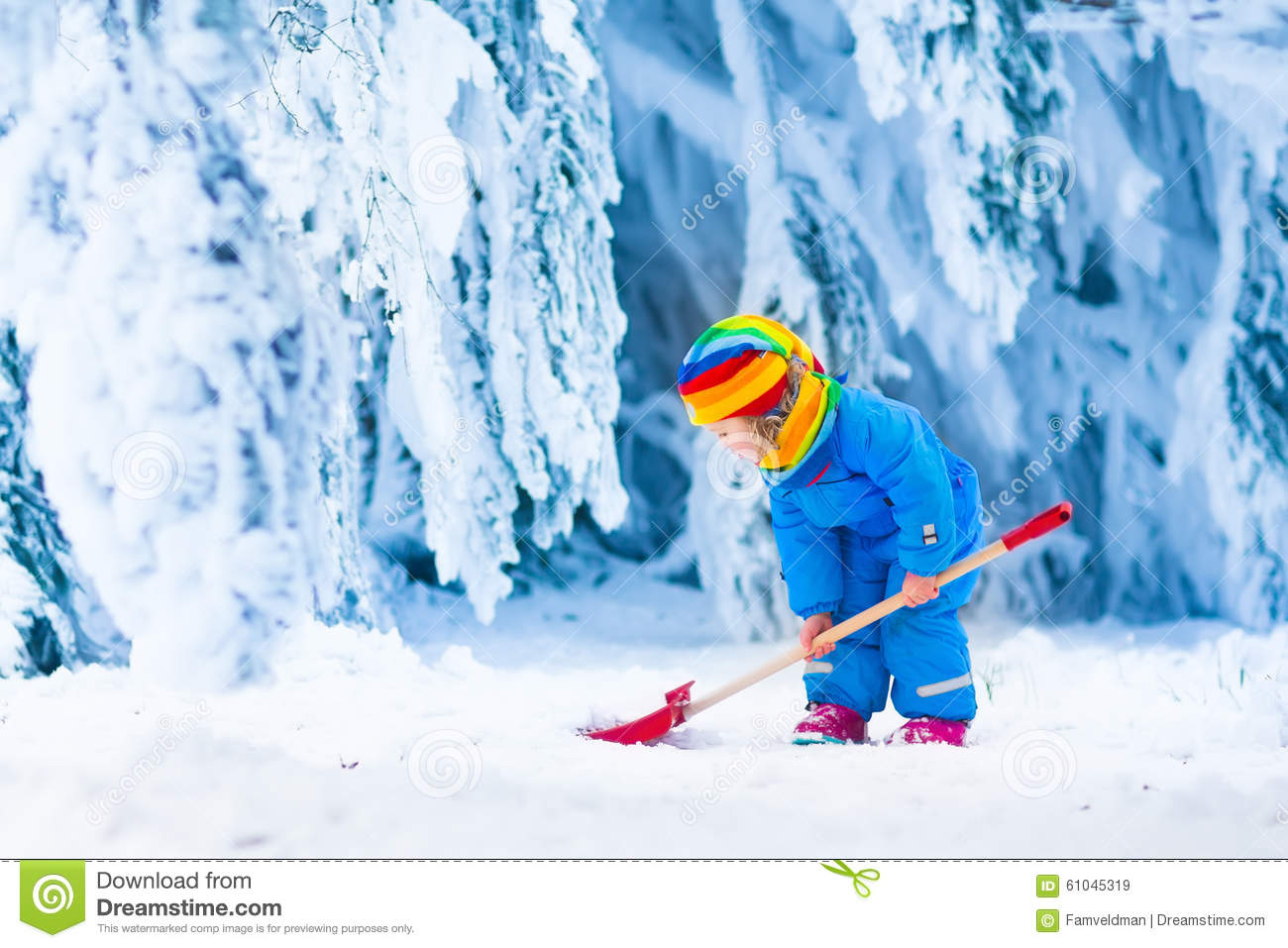 little girl playing with snow in winter stock photo image 61045319 Snow Shoveling Cartoon Snow Blower Cartoon
