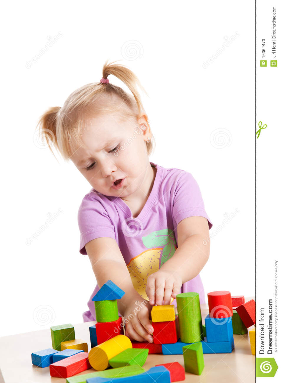 Little Girl Toys : Little girl playing with toy blocks stock image of