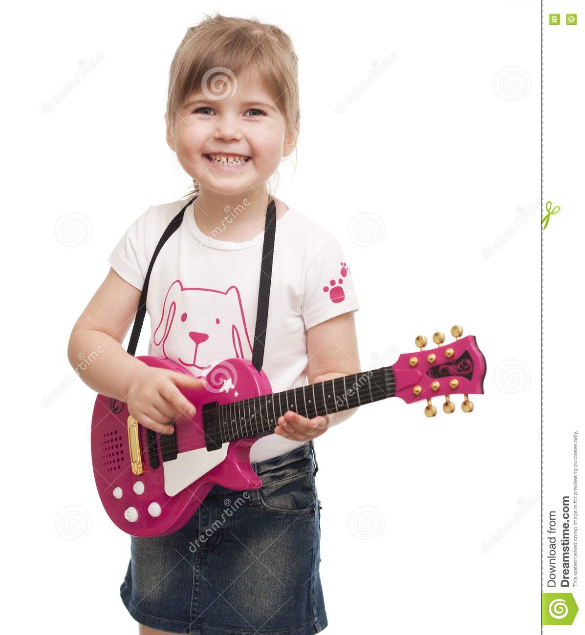 little girl playing toy pink electric guitar royalty free stock photos image 19062238. Black Bedroom Furniture Sets. Home Design Ideas