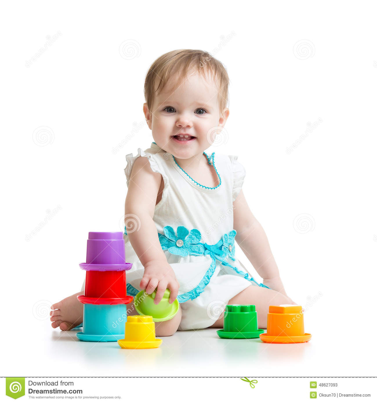 Little Girl Toys : Little girl playing with toys stock photo image