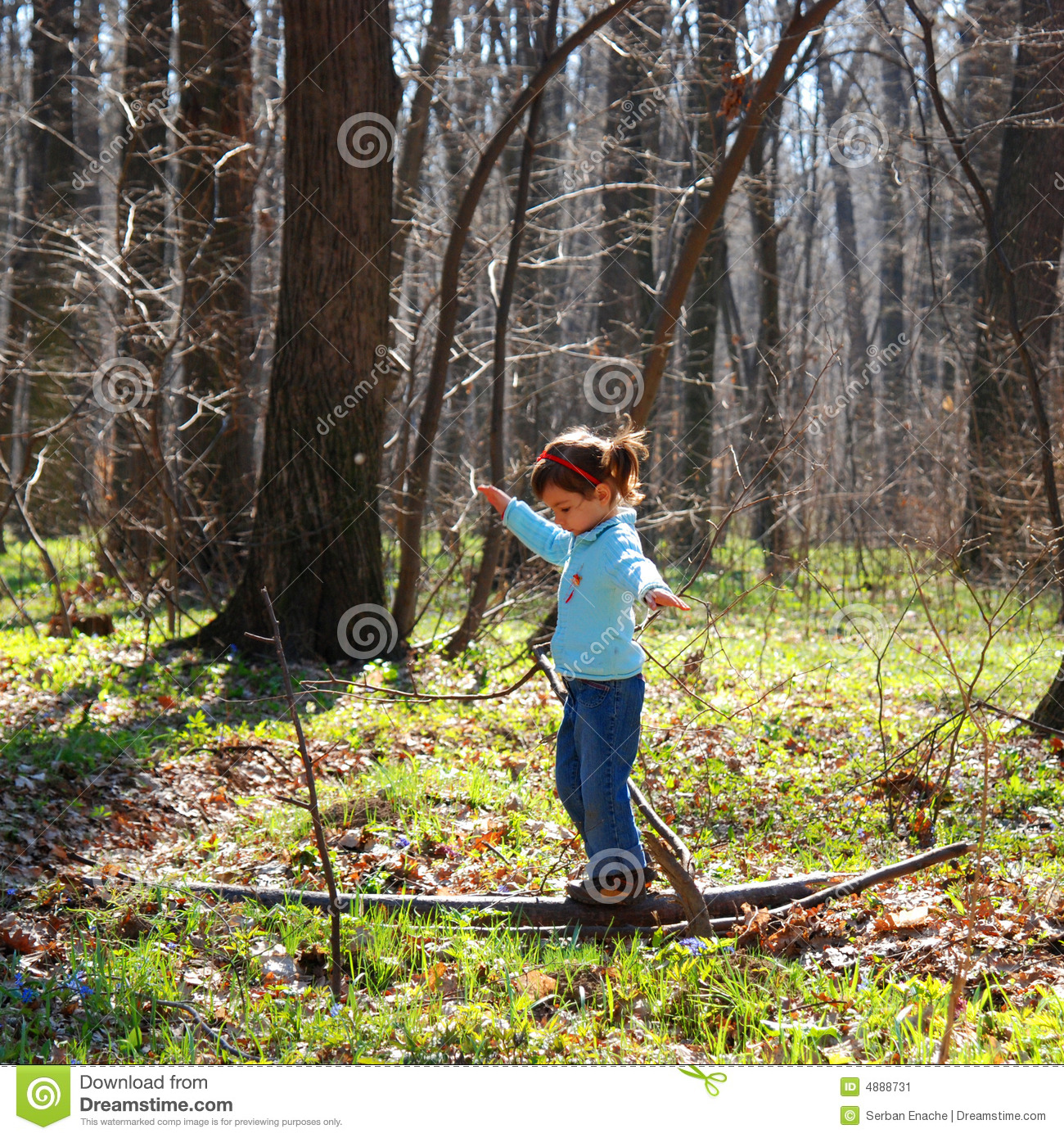 Little Girl Playing In Woods Stock Image Image
