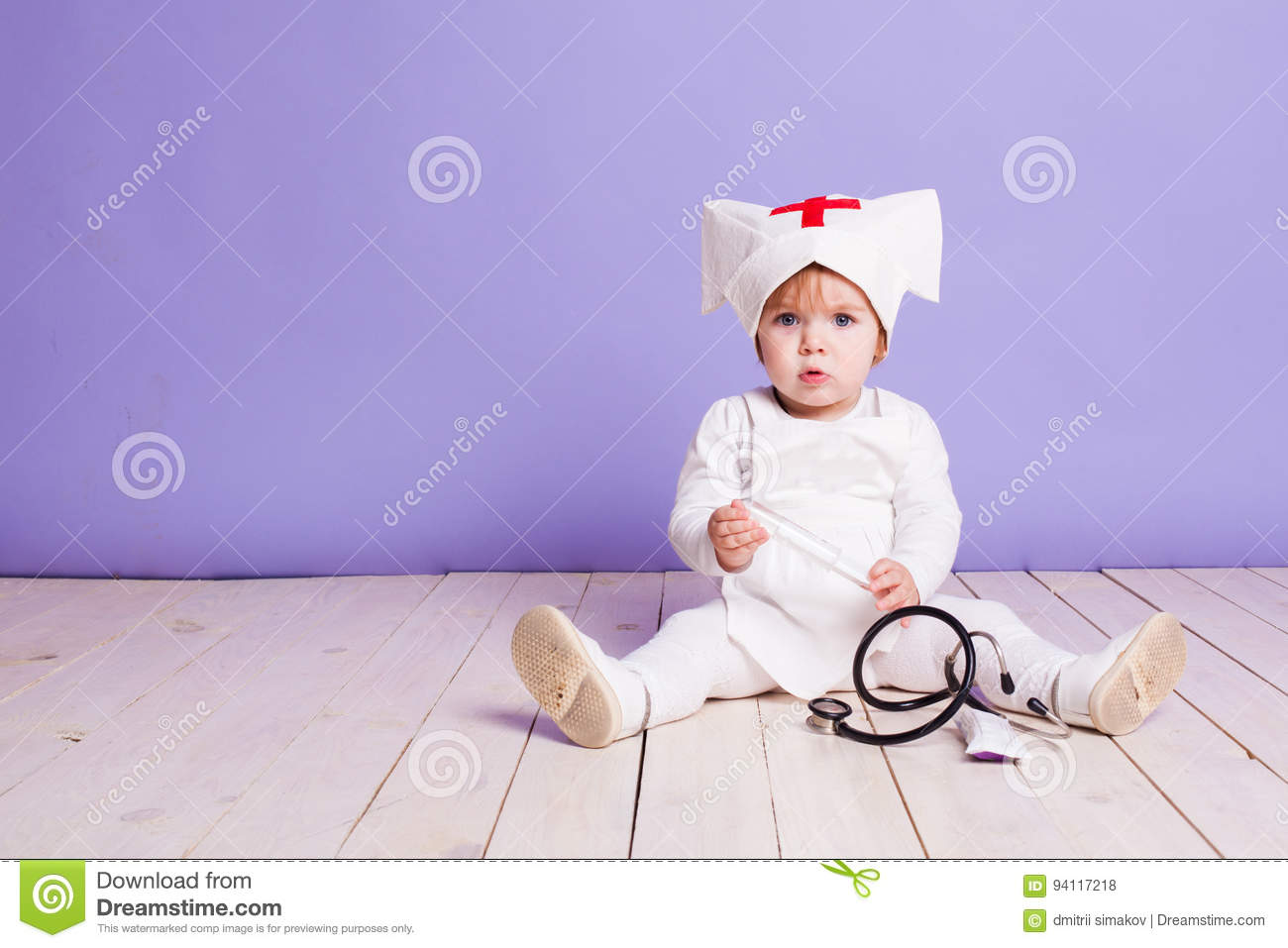 986c287d61c Little Girl Plays In The Hospital Nurse Stock Photo - Image of baby ...