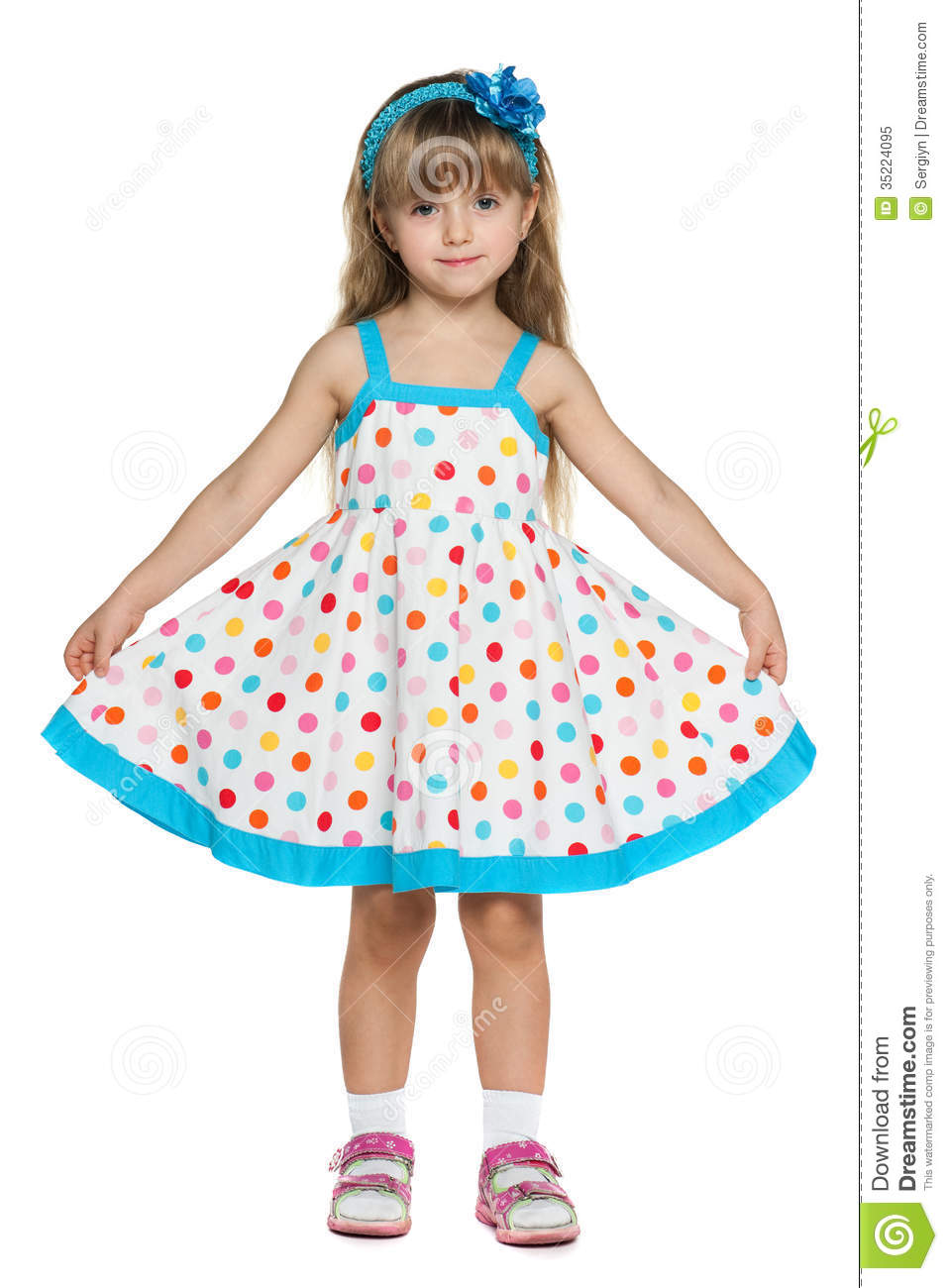 Little Girl In Polka Dot Dress Royalty Free Stock Photo - Image ...
