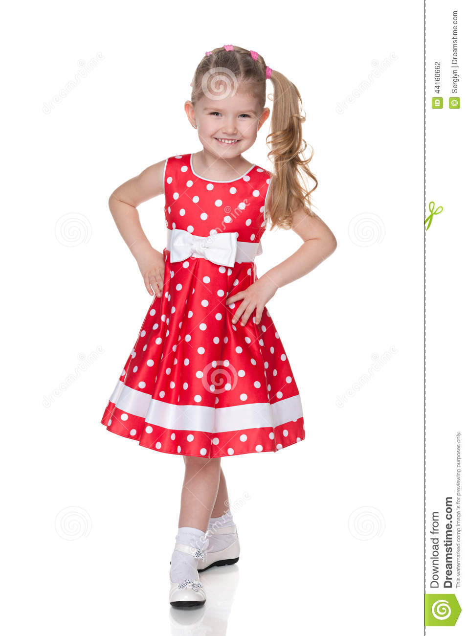 Little Girl In The Polka Dot Dress Stock Photo - Image: 44160662