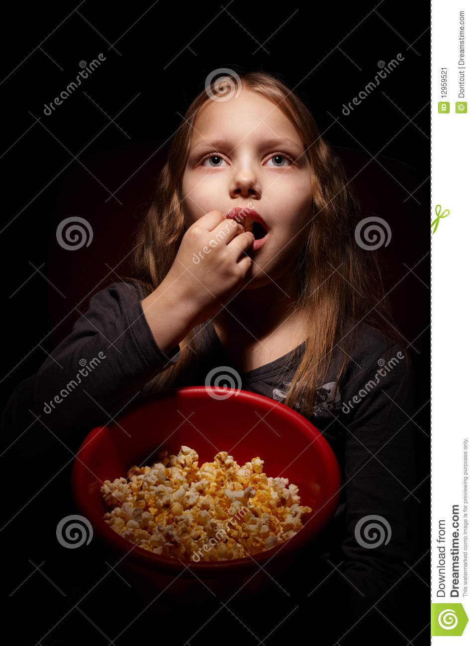 little girl with popcorn stock image image of hair food 12959521