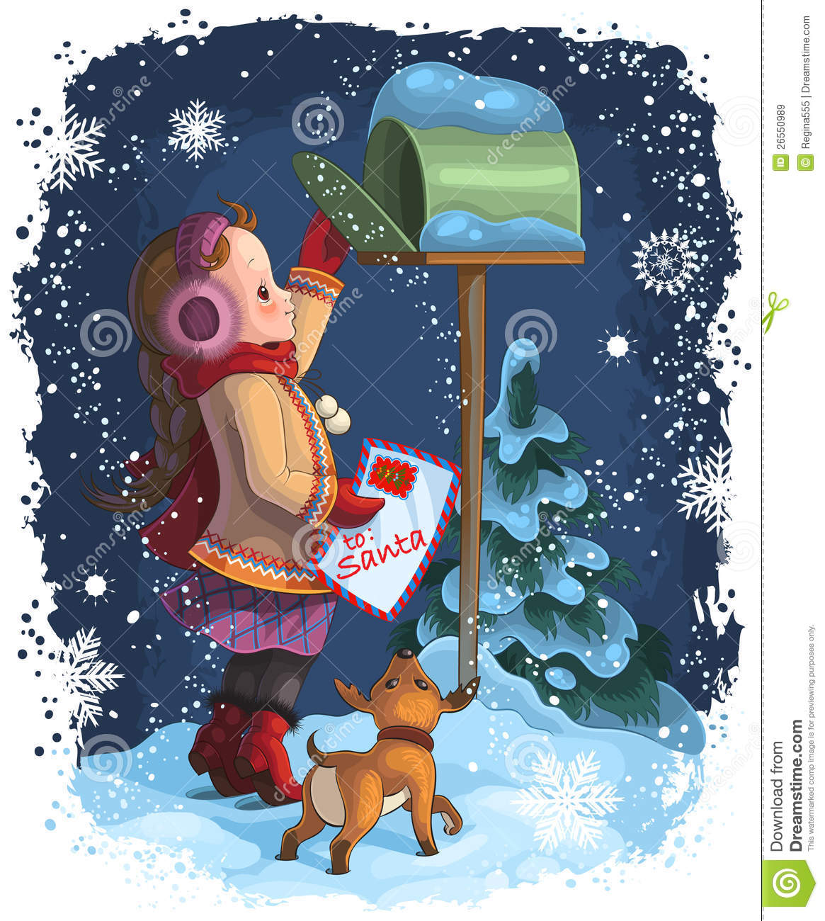A Little Girl Posting A Letter To Santa Stock Vector  Illustration
