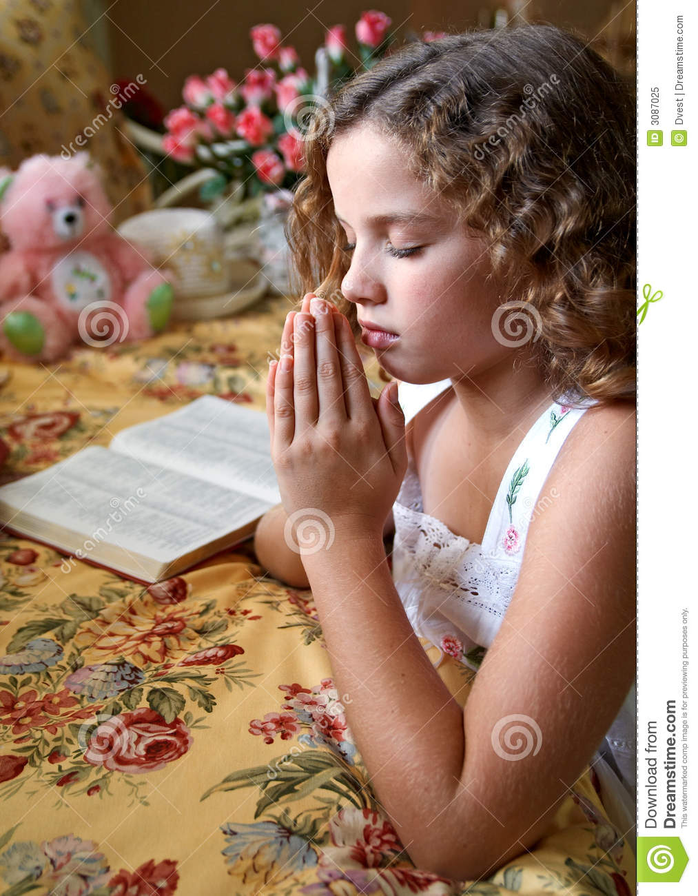 Download Little Girl Praying stock image. Image of study, religion - 3087025