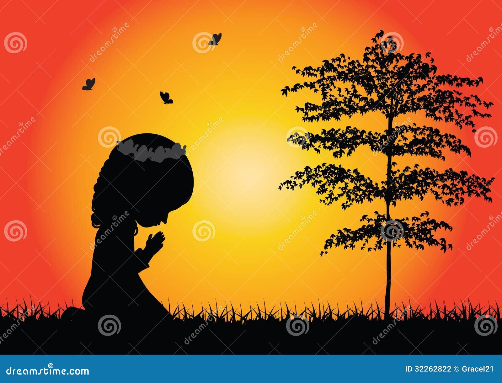 Little Girl Praying Si...