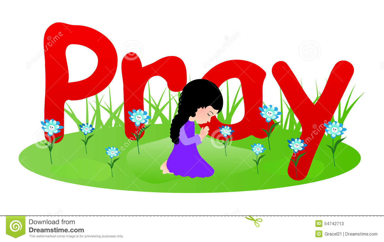 Little girl praying stock vector. Illustration of concept ...
