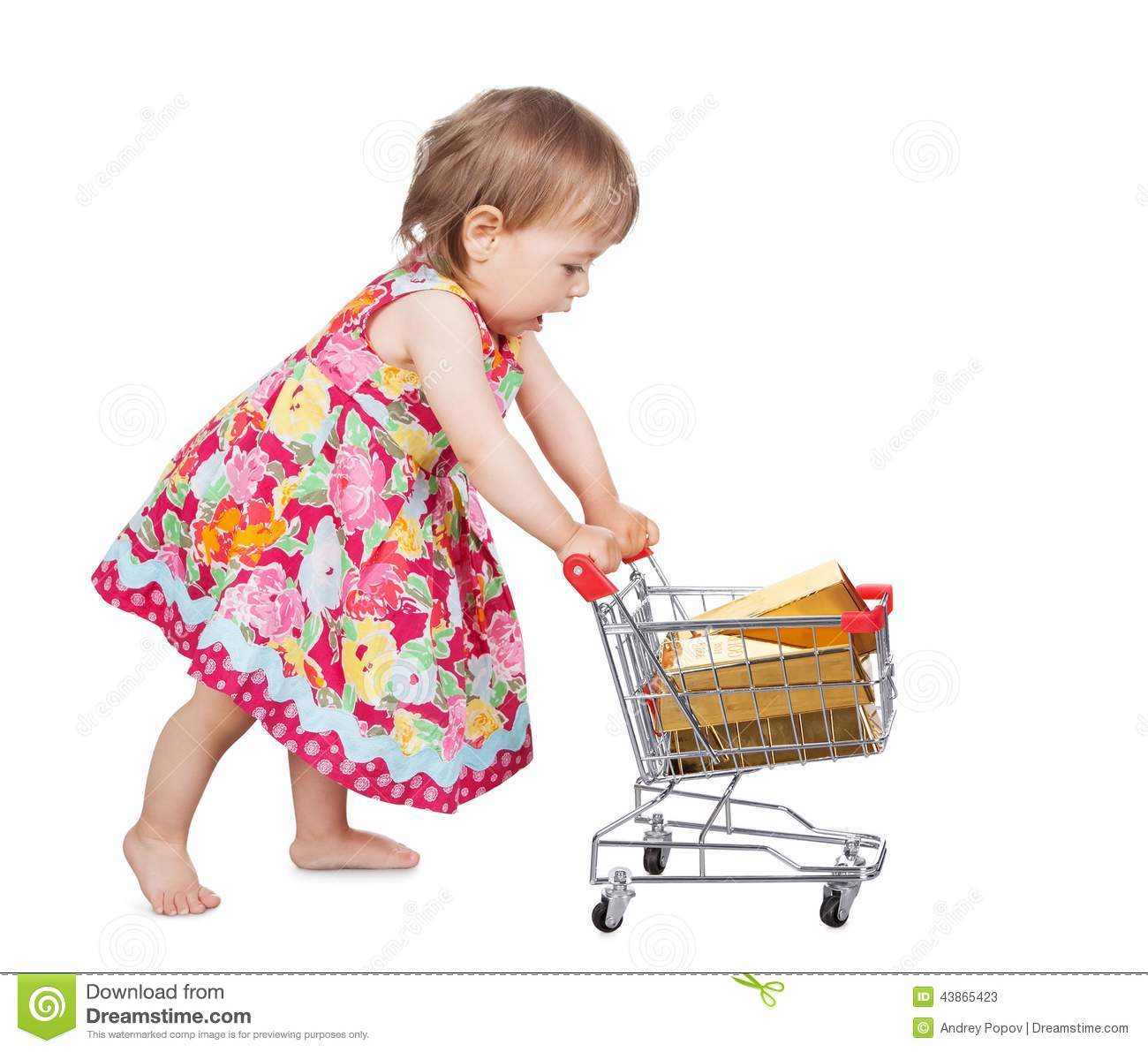 38f2fb33adf4 Little Girl Pushing A Trolley Stock Image - Image of full