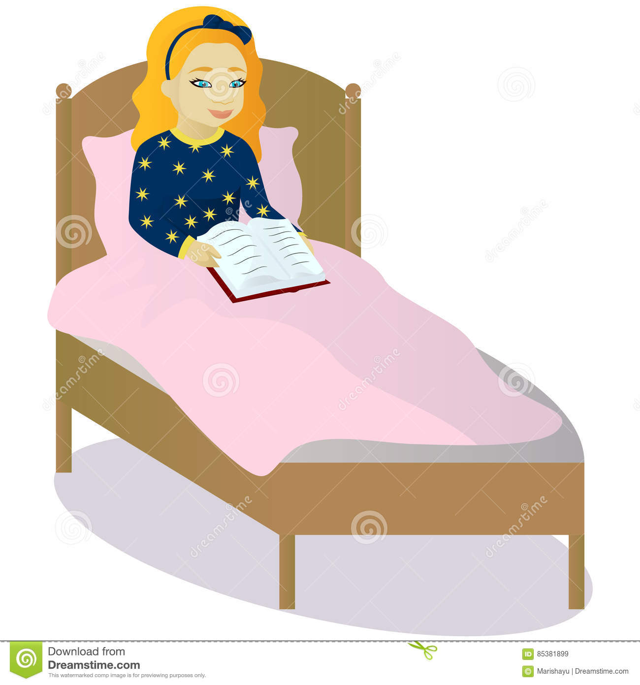 Little Girl Read Book In Bed Stock Vector Image