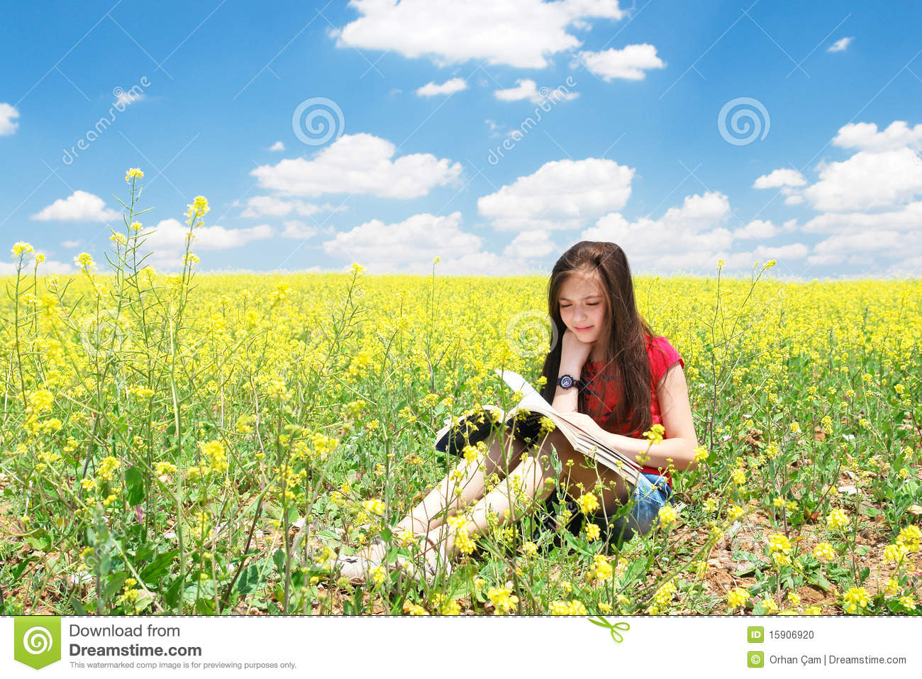 Little Girl Read Book In Nature Stock Photo Image Of Child
