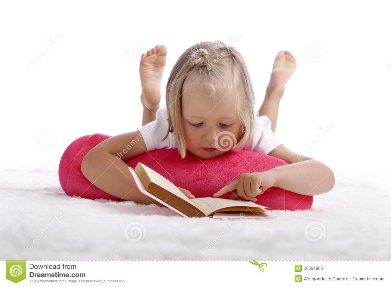 Little Girl Reading A Book On The Floor Royalty Free Stock Photo ...